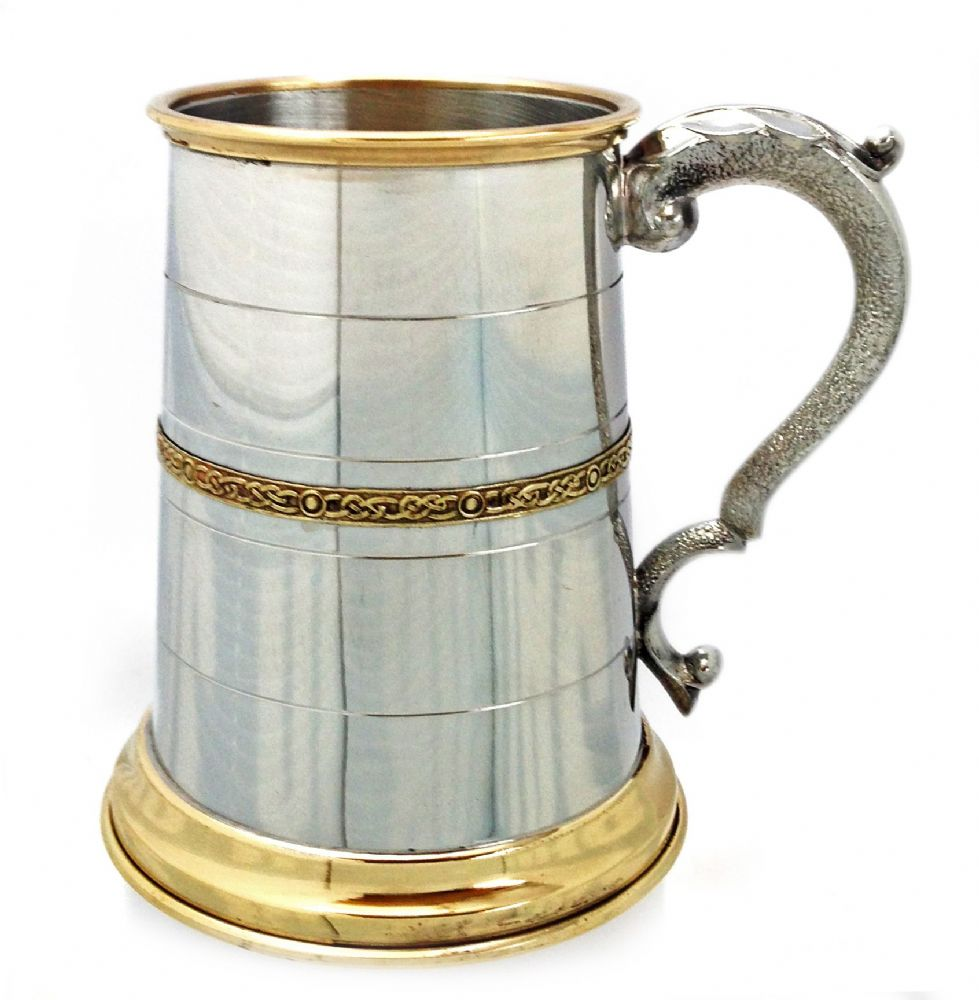 Pewter & Brass Celtic Band Classic 1 Pint Tankard  Engraving & Box Options Available